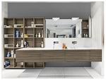 уникални шкафове за баня дървесен цвят иновантни
