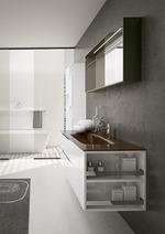 модернистични  3д проект с визуализация на шкафове за баня