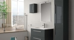 шкафове за баня дървесен цвят модернистични