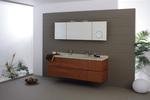 солидни  мебели за баня дървесен цвят