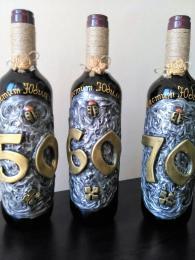 Бутилки с вино за юбилей 50,60 или 70 г.