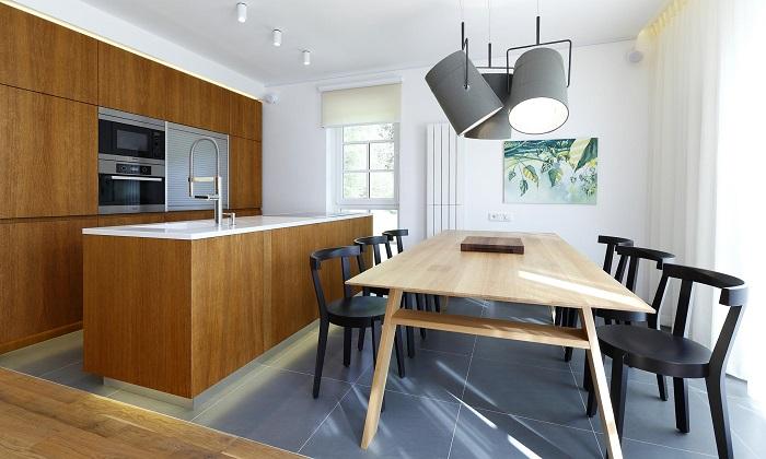 Кухня с трапезария стилен интериор