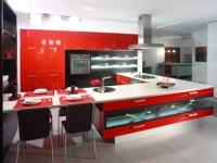 червена луксозна кухня