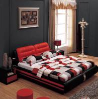 Спалня в червено и черно