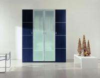 Четирикрилен гардероб с матирано стъкло