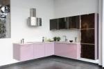 Ъглово кухненско обзавеждане МДФ розов гланц