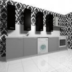 Компкатна права кухня в сиво и черно за ново жилище София