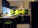 Кухня венге с принт стъкло