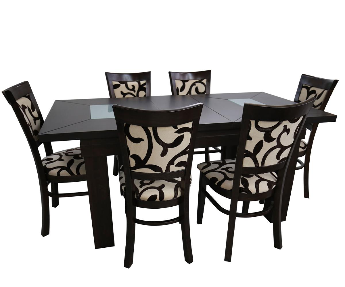 Комплект трапезна разтегателна маса с 6 стола ШАХЕР 80 см./130 + 30 см./ 82см.
