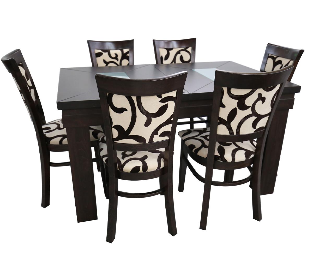 Трапезна правоъгълна разтегателна маса с 6 стола ШАХЕР 80 см./160 + 35 см./ 82см.