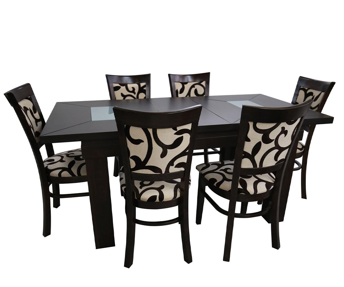 Комплект правоъгълна разтегателна маса със столове 6 броя ШАХЕР 90 см./140 + 40 см./ 82см.