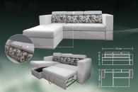 Модерен разтегателен ъглов диван в бяло