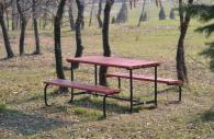 Градинска маса с две пейки