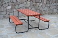 Градинска маса с пейки свързани в основата