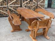 Комплект баварска маса и пейки за градина от дъб
