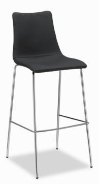 Бар стол  с тапицерия плат в черно