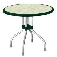 Кръгла маса в зелено с декорация