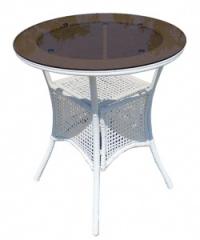 Бяла ратанова маса,стъклен кръгъл плот 75см.