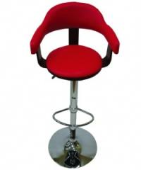 Дървен бар стол,тапициран с облегалка,червен/черно