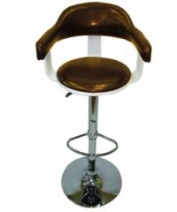 Дървен бар стол,тапициран с облегалка,кафяв/черно