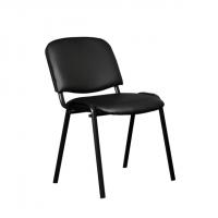 Посетителски офис стол кожена дамаска в черно