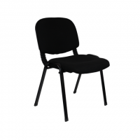 Посетителски офис стол  с дамаска в черно