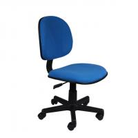 Офис стол без подлакътници с синя  дамаска