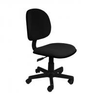 Офис стол без подлакътници с черна  дамаска