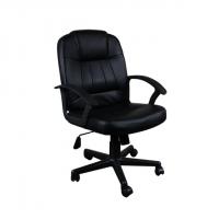 Семпъл кожен офис стол черна еко кожа
