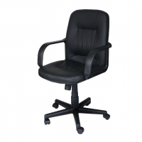 Офис стол с мека черна еко кожа