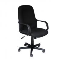 Ергономичен офис стол с черна дамаска