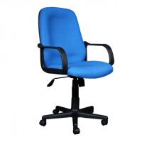 Ергономичен офис стол със синя дамаска