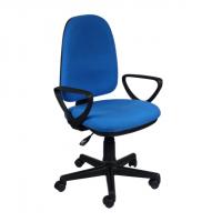 Тапициран офис стол с висока облегалка в синьо