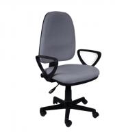 Тапициран офис стол с висока облегалка в сиво