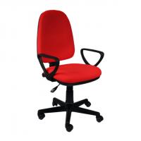 Тапициран офис стол с висока облегалка в червено