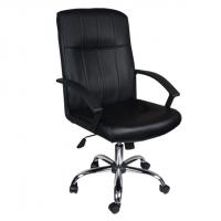 Комфортен офис стол в черна еко кожа