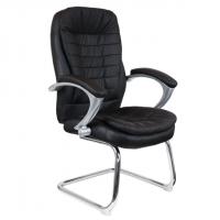 Посетителско кресло в черна еко кожа база хром