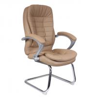 Посетителско кресло в бежова еко кожа база хром