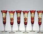 Кристални чаши червени със златна декорация- 05