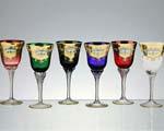 Комплект разноцветни кристални чаши - 07 - 6 броя
