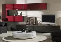 ТВ секция в червено и венге