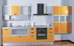 Кухня по проект в сиво и оранж 311-2616