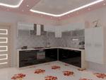 Ъглова кухня в черно и бяло по проект 561-2616