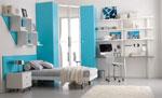 Поръчкова спалня в морско синьо с етажерки, работна маса и гардероб 223-2618