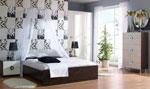 Черно-бяла спалня по поръчка с балдахин на ринг над леглото