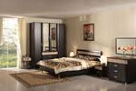 Спалня по поръчка в черно с бежови акценти 437-2618