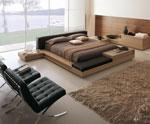 Двойно легло по поръчка с кожена тапицерия на таблата и допълнителни плотове - от кожа и дърво в дол