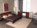 Изчистен дизайн на спалня по индивидуален проект в керемидено и черно 81-2618