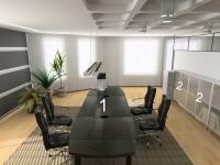 Заседателна маса и офис шкафове от пдч,с алуминиеви витрини
