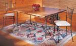 Кухненска маса от закалено желязо с плот от масив